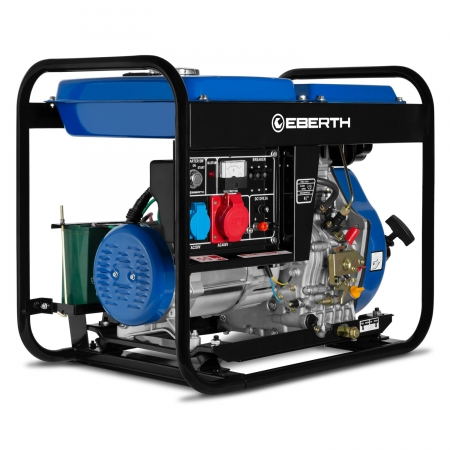 EBERTH Generador eléctrico diesel 5000W y 10 CV