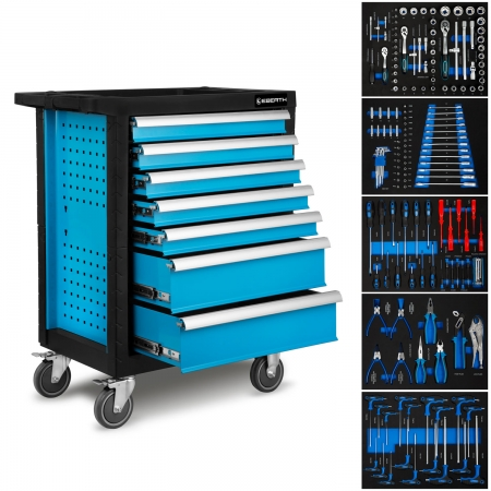 EBERTH Carro de taller con 7 cajones, 5 incluyen herramientas